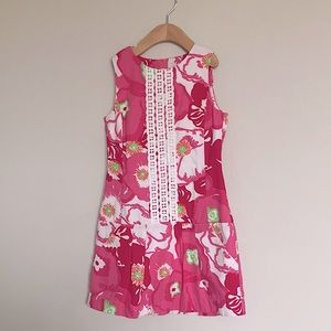 Lilly Pulitzer girl pink embroidered dress sz 8